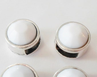 2 White Chalk 5mm Flat Leather Genuine Swarovski Crystal Sliders, 6mm flat leather, 2mm round Leather,