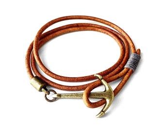 Brass Anchor Bracelet - Leather Anchor Bracelet - Nautical Jewelry - Bracelet For Men - Men's Jewelry by Modern Out