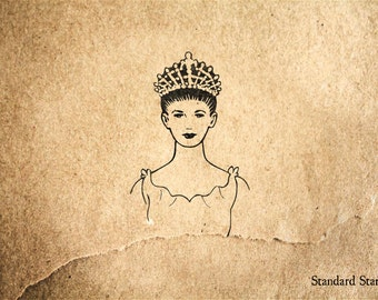 Princess with Crown Rubber Stamp - 2 x 2 inches