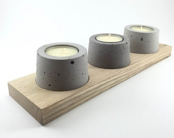 Candle holder concrete and wood