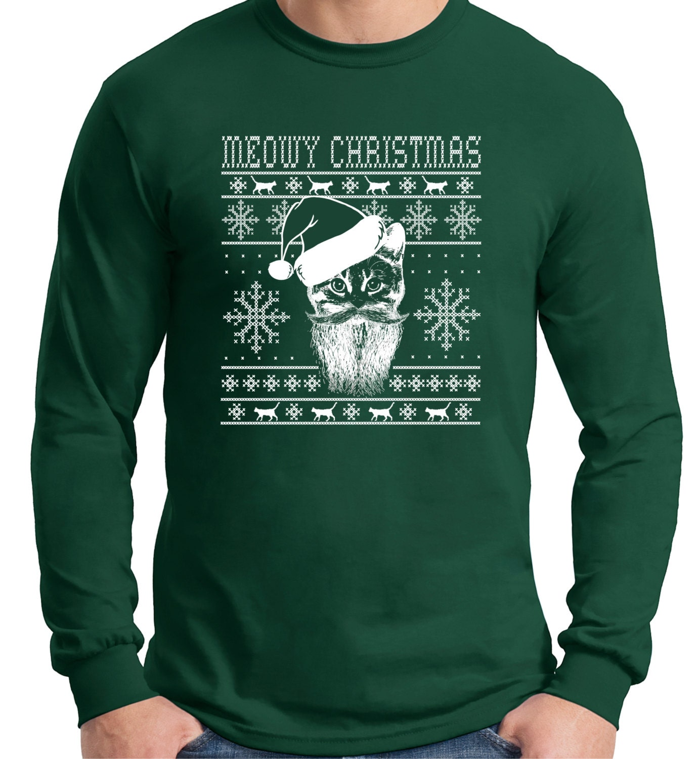 Meowy christmas ugly sweater design cat loverlong sleeve t for Tacky t shirt ideas