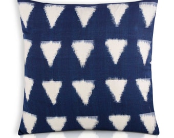 Indigo and White Cotton Ikat Cushion Cover - Decorative Throw Pillow - Natural Dyed Indigo and White Block Printed Cotton Cushion Cover
