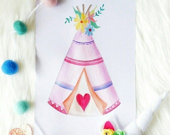 Bohemian Teepee Watercolour Painting -  Made-to-order