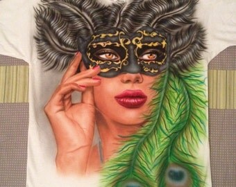 """Custom Airbrushed T-Shirt, Venetian Mask, feather, New!!! Unique """"S"""" single item"""