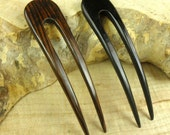 """TWO Striped Ebony 4 1/2 Inch Wooden Two Prong Curved Hair Fork Black with Dark Brown Grain 1 """" wide FPL 3 3/4"""" Comb Pin"""