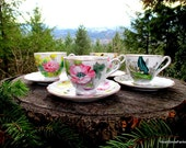 Kasuga Ware Birthday Floral Series Tea Cups - 4 Available - Flower of the Month Tea Cups - Kasuga Ware Tea Cup