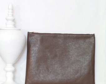Large Clutch / Oversized Clutch Bag / Fold over Clutch Bag /  Clutch Bag / Clutch Purse  / Handbag / Purse/ Brown Faux Leather