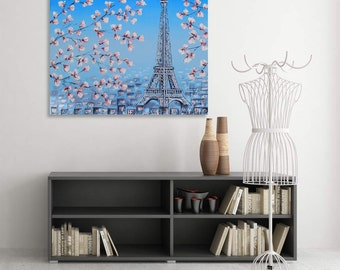 Paris Painting, Eiffel Tower Art ,Made to Order, Parisian Landscape Painting. 20x30, Cherry Blossoms, Textured Original Oil Painting