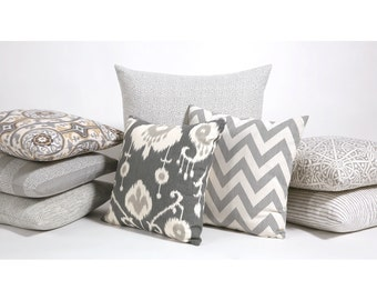 Ikat Decorative Throw Zipper Pillow Cover in Pewter fits 20x20 Inch insert Slate Grey Collection 18x18 22x22 26x26 Grey Cream Pillow-K2P3