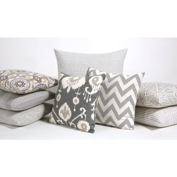 Throw Pillow Covers With Zipper : Ikat Decorative Throw Zipper Pillow Cover in Pewter fits 20x20