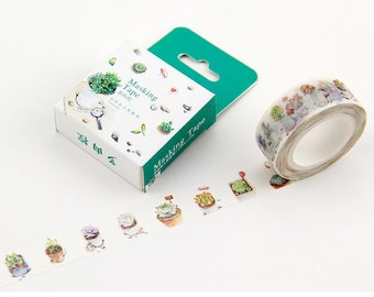 plant tape plant washi tape plant sticker Cactus Chart Scientific Botanical Botany label Nature Cacti Succulents gardening planner sticker