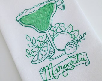Margarita Floursack Dishtowel-Embroidered-Housewarming Gift-Green