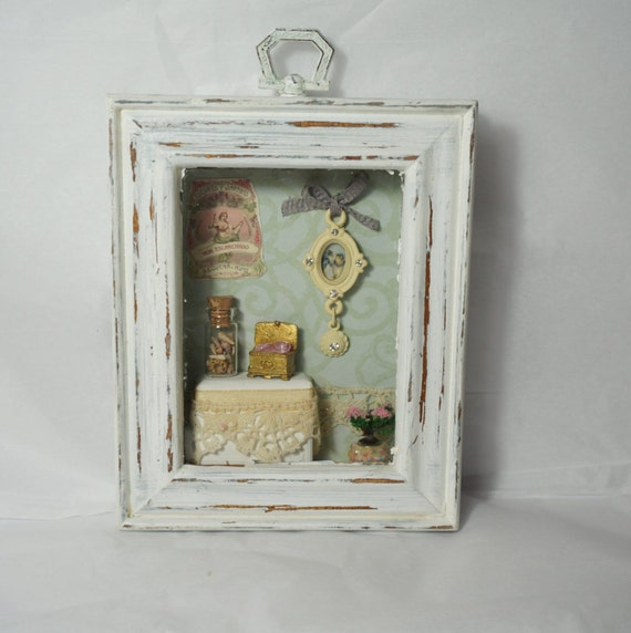 Ooak Shabby Chic Distressed Shadow Box Picture Frame
