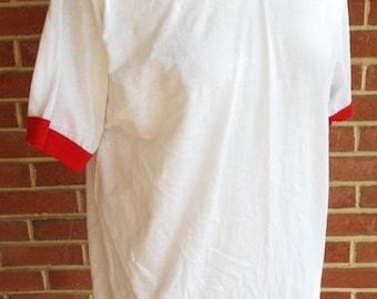 Vintage White and Red Ringer T Shirt