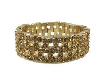Sparkling Yellow Rhinestone and Gold Tone Monet Stretch Bracelet