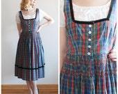 Hallstatt Dress * 1950s cotton and velvet dirndl dress *