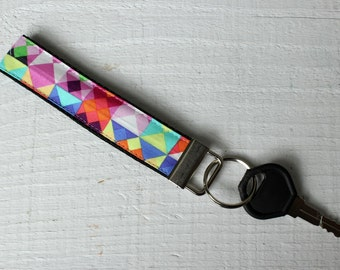 Key Fob Wristlet with Michael Miller What's Your Angle Fabric
