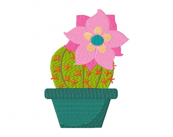 Flowering Prickly Cactus Filled Machine Embroidery Design in 2 sizes Instant Download