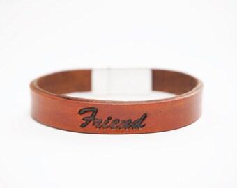 "Engraved Inspirational Leather Friendship Bracelet - ""Friend"""