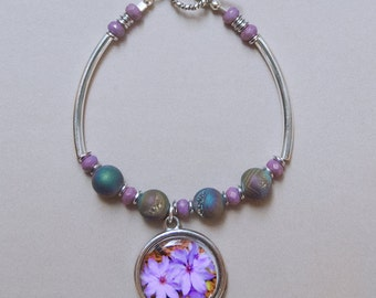 Purple Lattice  and Druzy Photo Charm Bangle Bracelet