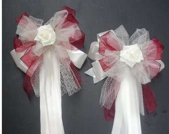10x Church Pew End Bows - With Rose - Polytye & Tulle