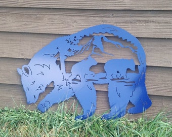 Sheet Metal Bear Scene Wall Art