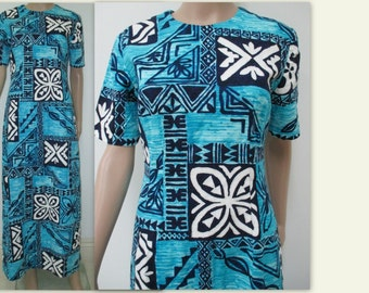 Hawaiian Dress, 1970s Hawaiian Dress,Vintage Barkcloth Hawaiian dress, Tiki Dress, Blue, Black & White Hawaiian dress, Luau dress