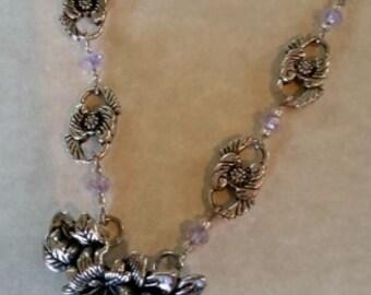 Silver Necklace Floral Filigree #191