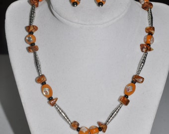 Necklace and Earrings Set Agate Pendant Orange Black Silver #828