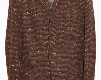 1950s Mens Speckled Wool Coat Sz 38 Vintage Retro