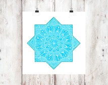 Moroccan blue turquoise star, eclectic mandala  art print, 8x8 blue boho wall  printable art, Alhambra, instant download, hand drawing