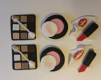 Cosmetic Makeup Lipstick Girly Fondant Edible Cupcake Toppers