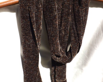 Handwoven Chenille Scarf Chocolate Tweed for Men or Women