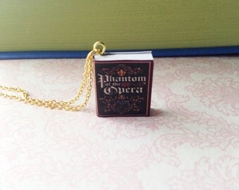 Handmade Phantom of the Opera Miniature Book Charm Necklace // Gaston Leroux // Christine, Angel of Music // Book Lover Gift