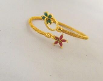 Adjustable Pink and Green and Gold Kada Bangle Bracelet