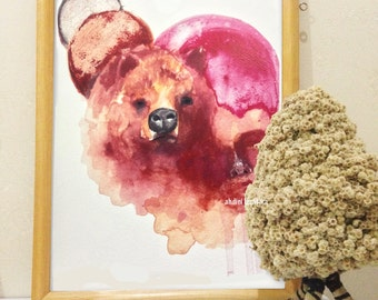 Calm Down - bear, Art Print, watercolor art print, Grizzly bear, Wall Art, wall art prints, watercolor print, Art Print watercolor