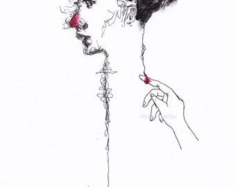 Amorette - wall decor art print illustration poster