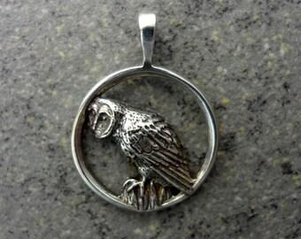 Barn Owl Pendant - Handmade in Oregon