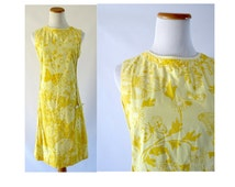 Lilly Pulitzer Dress Vintage Shift Cotton The Lilly 1960s 60s Butterfly Yellow Resort Wear Tropical Hawaiian Sleeveless Sundress