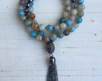 Caribbean Agate and Hematite Gemstone Tassel Necklace with Gunmetal Pave Crystal Oval and Gunmetal Chain Tassel
