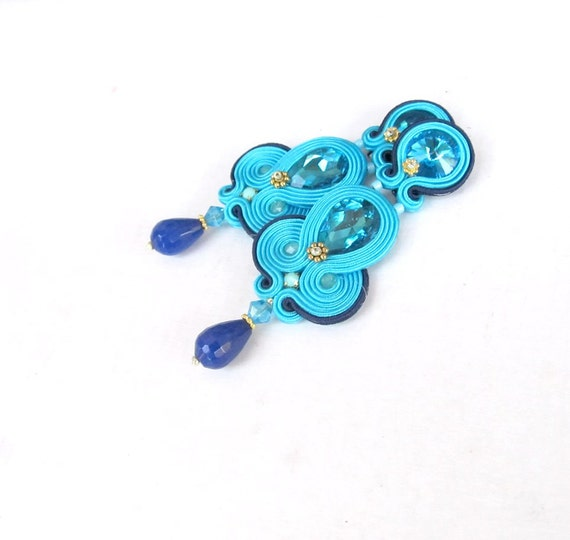 royal blue clip on earrings unique by gisoutachejewelry
