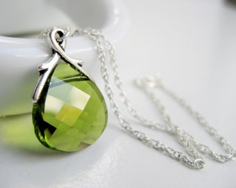 Olive green necklace, Swarovski crystal pendant, sterling silver jewelry, green teardrop necklace handmade