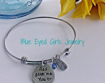 God Gave Me You Stamped Bangle Bracelet Mother's Day Gift