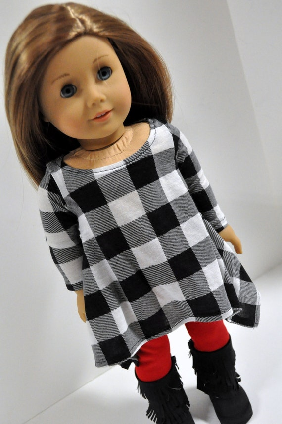 Black and White Buffalo Plaid Twirly Top with Red Leggings made to fit American Girl Doll 18 Inch Dolls