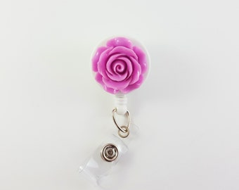Lilac Rose - Flower Badge Reel - Retractable ID Badge - Decorative Badges - Teacher Badge ID Reels - Nurse Badge Holder - Name Badge Holders