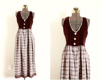 90s velvet maxi dress | boho plaid sundress | 90s grunge | hippie witch wicca clothing [ medium - large ]