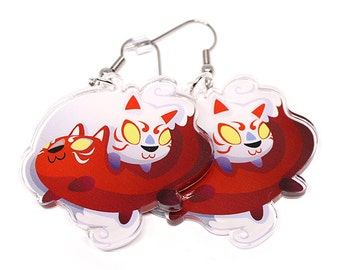 Kitsune Earrings, kitsune, red fox, cute animals, kawaii charm, kawaii, yokai, white fox, foxes, ying yang, japanese, japan