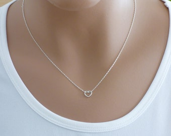 100% Sterling Silver Heart Necklace, Tiny Heart Necklace,Open Heart Necklace, Silver Heart Necklace ,Mini Heart Necklace.