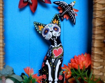 Sugar Skull Cat Day of the Dead  Red Heart Portuguese Heart