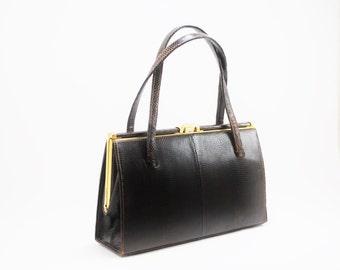 Vintage Brown Lizard Skin Handbag Swallow Model by Lightstone Hubbart England-1950